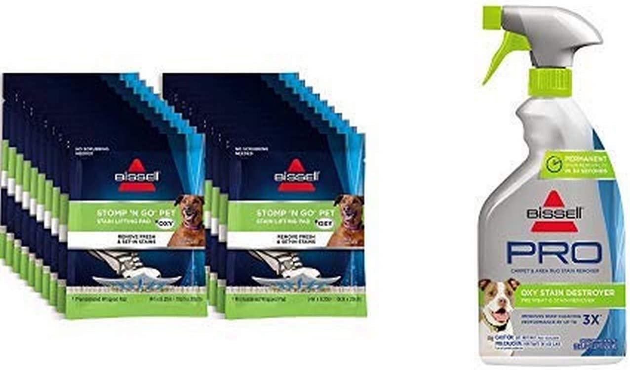 Bissell Stomp 'N Go Pet Lifting Pads + Oxy for Stain Removal on Carpet & Area Rug Cleaning, 20 Pack with Oxy Stain Destroyer Pet Plus Pretreat