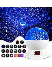 [Upgrade] MOKOQI Rotating Star Sky Projection Night Lights Toys Table Lamps with Timer Shut Off & Color Changing for 1 Year Old Baby Girls Boys Bedroom Baby Nursery Lights (White)