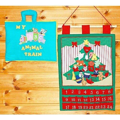 ギフトセット 布のアドベント カレンダー 壁掛けクリスマスツリーオーナメント24個&MY ABC ANIMAL TRAIN ブルー   B07K2SDMTN