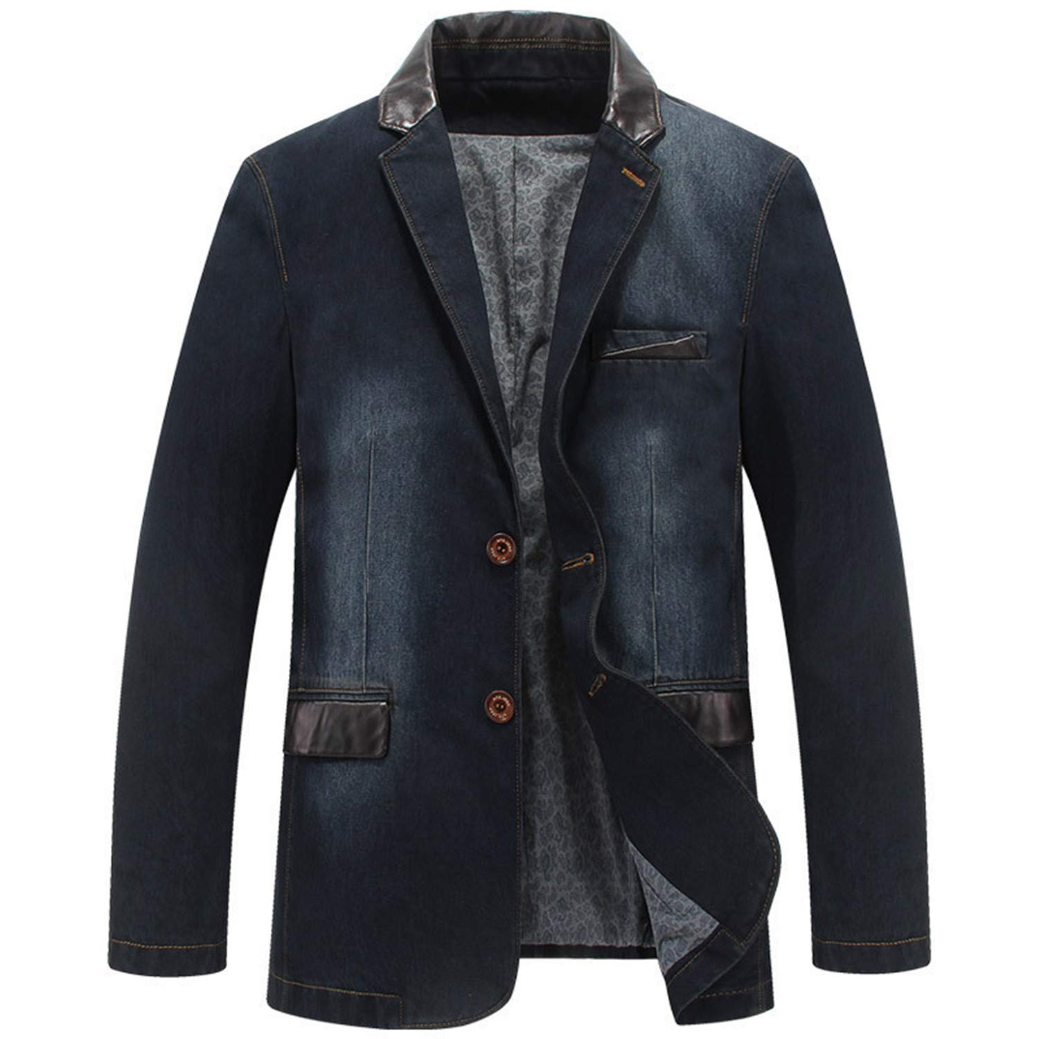 7de1f5e2cb86 Men Denim Suit Jacket Cotton Single Breasted Pockets Outwear Man Cowboy  Blazer at Amazon Men's Clothing store: