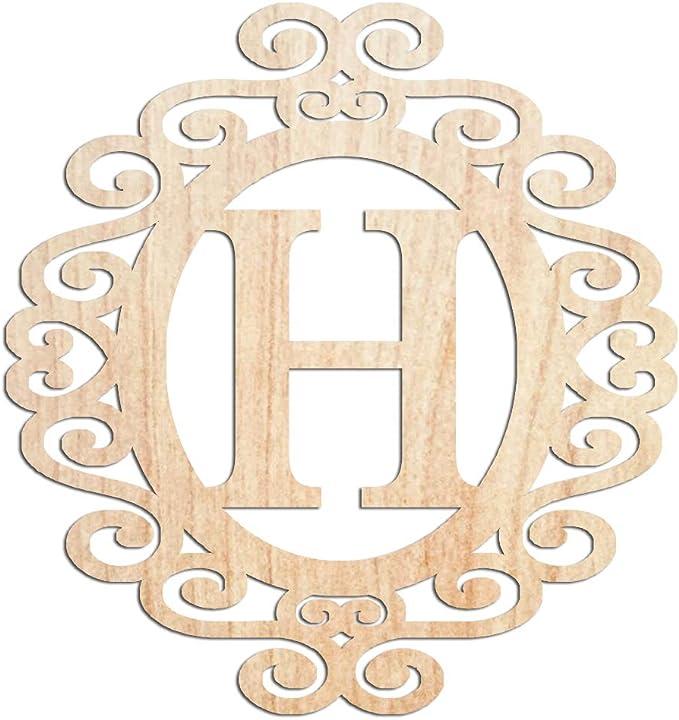 Personalised Flower Ring Name Wooden Monogram Craft Wedding MDF Words Laser cut
