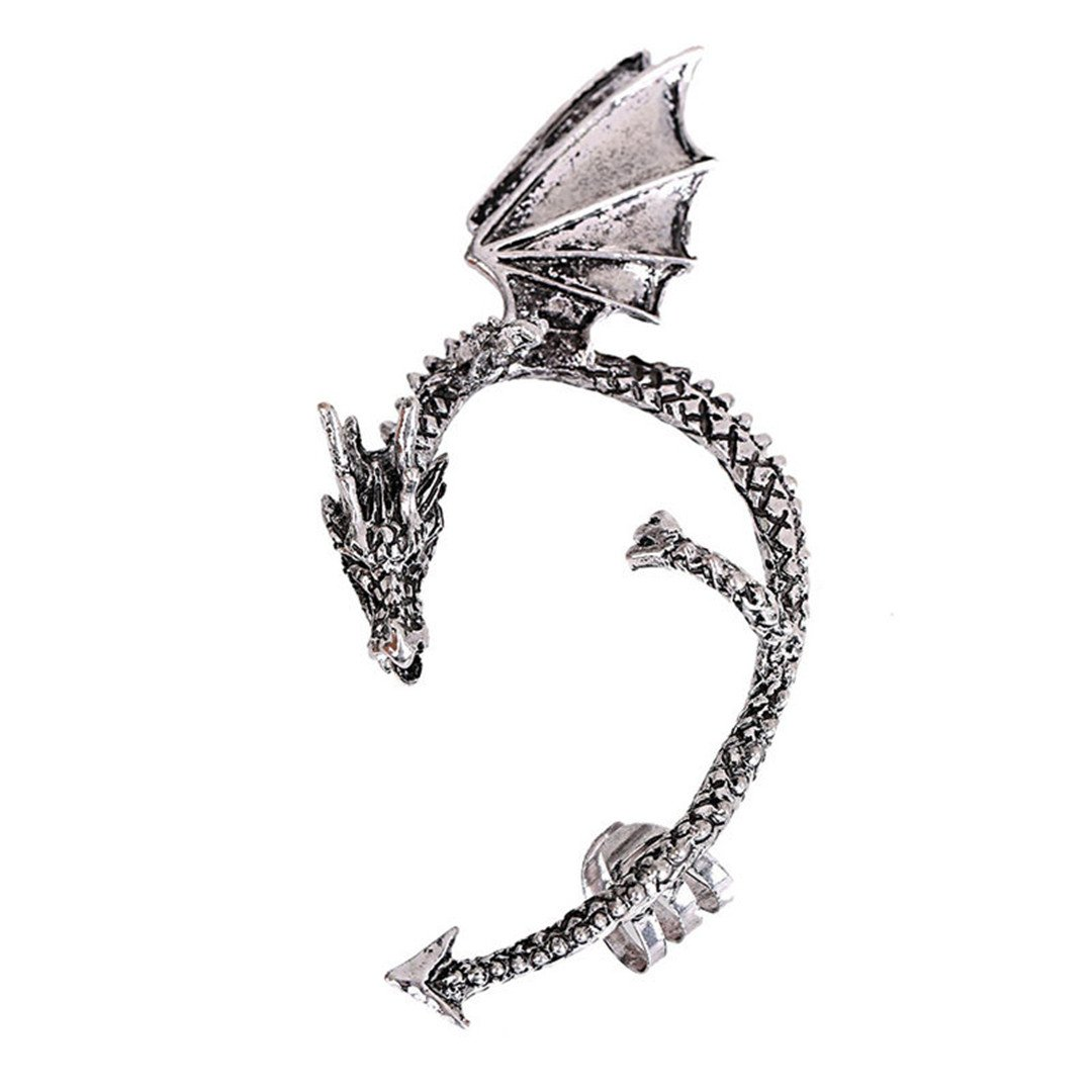 Lavany Women's Metal Dragon Bite Ear Cuff Wrap Earring Gothic Punk Temptation Earrings Jewelry (Silver)