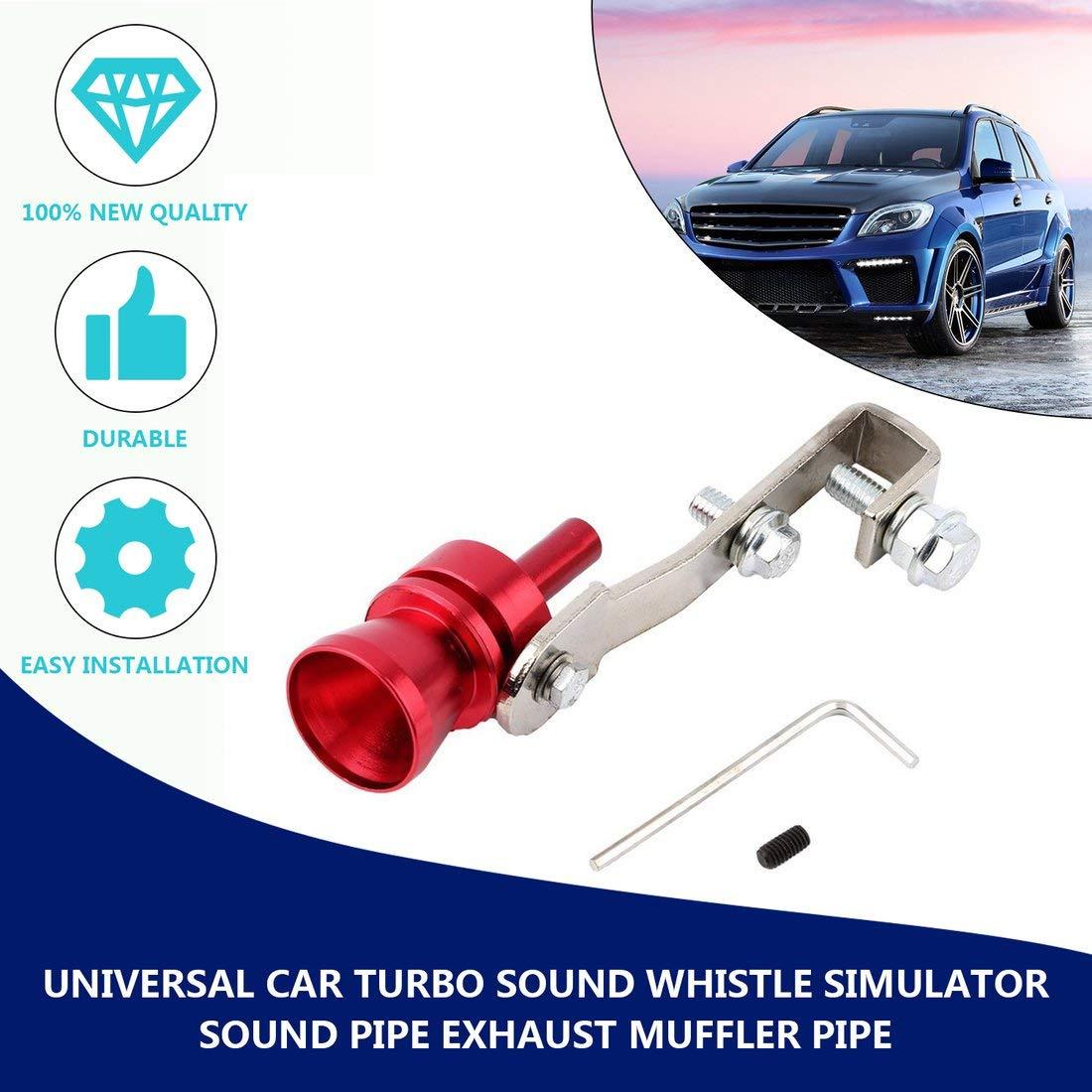 Universal Aluminium Cars Auto BOV Turbo Sound Silbato Tubo Simulador de Sonido Tubo de Escape Silenciador Tubo Tubo-Rojo