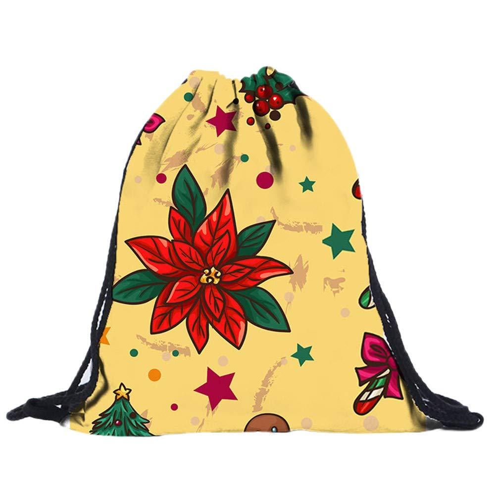 Christmas Drawstring Gift Bags Clearance, Iuhan Xmas 3D Digital Santa Sack Backpack Goody Treat Bags Backpack Drawstring Bag for Party Favors and Candy (B)