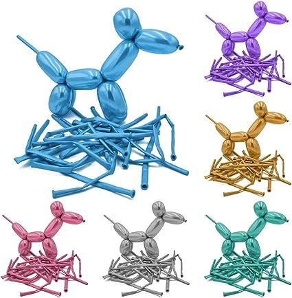 100 globos de látex de cromo mágico para fiestas – Globos de modelado metálico torcido, colores mezclados. Globos esculturas y globos de animales: Amazon.es: Juguetes y juegos
