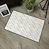 Clear printed pattern door mat W35 x L47 INCH Indie,Colorful Pattern with Classical Old Fashioned Eyeglasses Nerd Smart Hipster Doodle,Multicolor Natural dye printing to protect your baby's skin Non-s