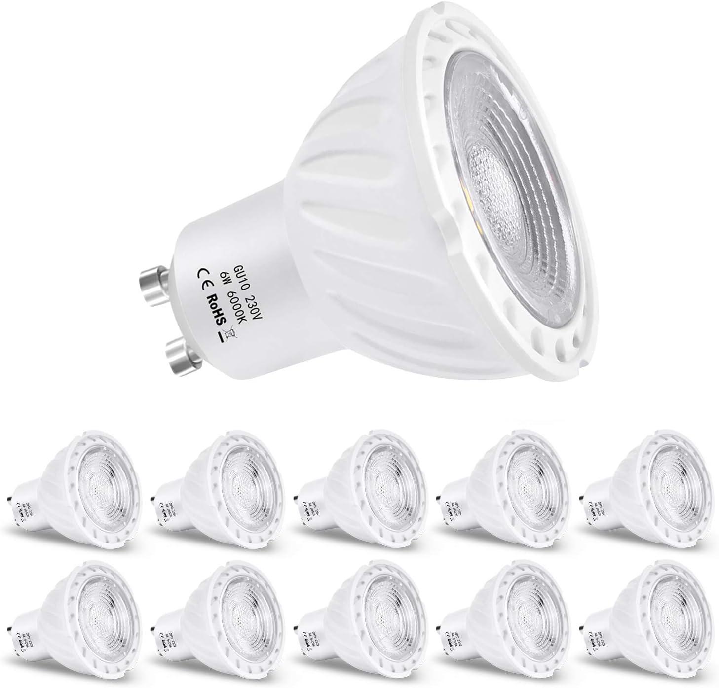 Zikey 6W GU10 Bombilla LED, Luz Blanca Fría 6000K, Equivalente a 60W Lámparas Halógenas, 600lm, No regulable - Paquete de 10: Amazon.es: Iluminación
