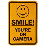 "SmartSign 3M High Intensity Grade Reflective Sign, Legend ""Smile! You're on Camera"" with Graphic, 18"" High X 12"" Wide, Black on Yellow"