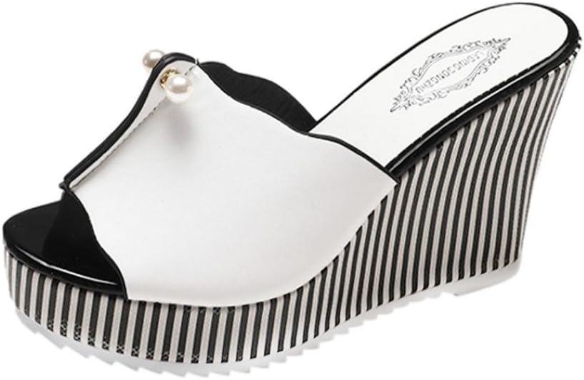 LuckyGirls Cuñas Sandalias Mujer Plataforma Chancleta Verano Pearl Rayas Color de Hechizo Moda Cómodos Casual Zapatos de 11cm Tacón Chanclas Zapatillas de Suela Gruesa