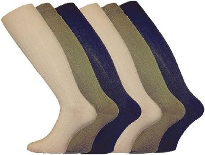6 PARES HOMBRE LARGO Hose de canalé 100% Algodón Cómodo Agarre Calcetines - variados moderno, 6-11: Amazon.es: Ropa y accesorios