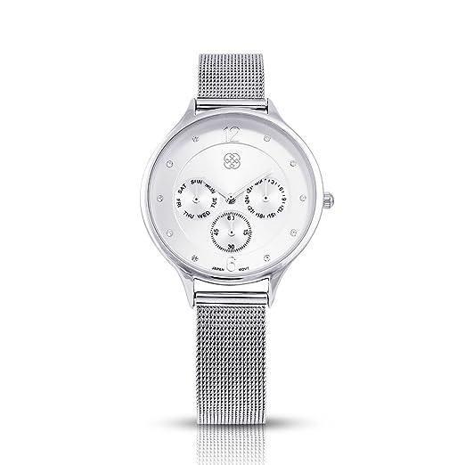 Daisy Fuentes reloj de moda de las mujeres banda de acero inoxidable, color plateado: Amazon.es: Relojes