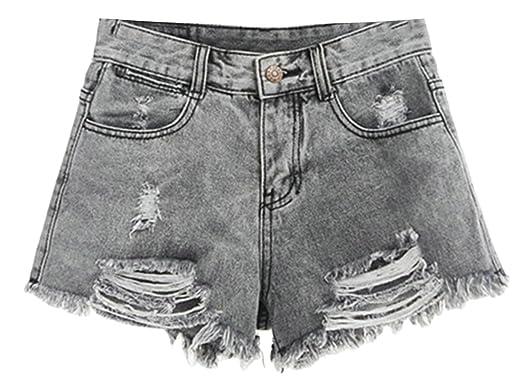 ddb48d3bfa UUYUK-Women Casual High Waist Ripped Hole Tassel Denim Shorts at Amazon Women's  Clothing store:
