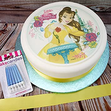 """7.5/"""" PERSONALISED ROUND EDIBLE ICING CAKE TOPPER BEAUTY AND THE BEAST IN LOVE"""