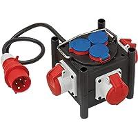 Brennenstuhl Compacte rubberen stroomverdeler/rubberen verdeler, 1m kabel, 3x CEE 400V/16A, 3x 230V/16A…