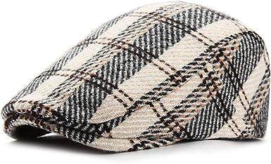 Adantico Sombrero de Invierno para Hombres Gorra Plana Boina Gorra a Cuadros Newsboy Caps