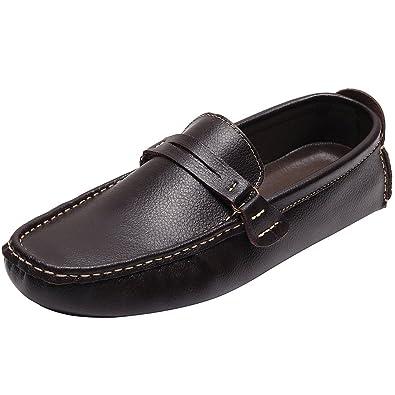 rismart Herren überstreifen Mokassins Flache Leder Schuhe Loafers A006(schwarz,EU42)