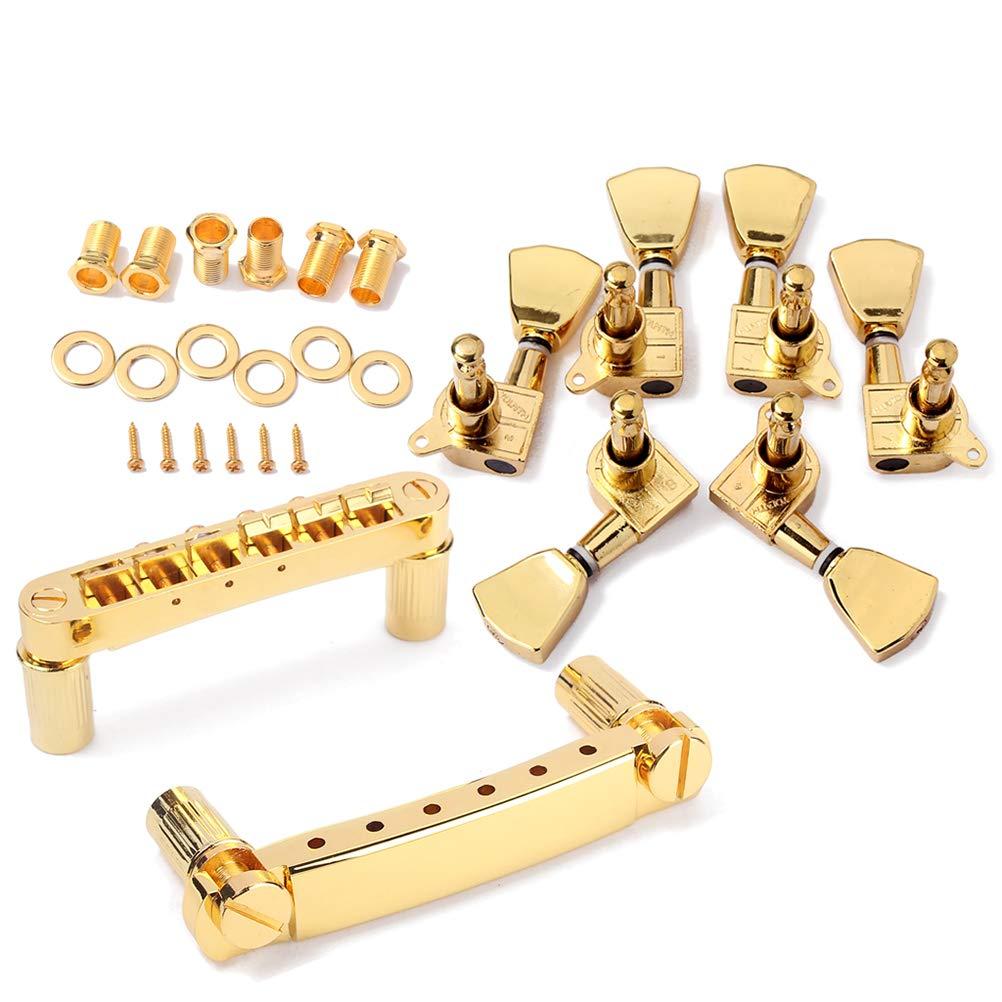 SUPVOX 1 Sets de partes de guitarra Afinadores de afinación de Saddle Bridge para guitarra eléctrica LP (oro): Amazon.es: Instrumentos musicales
