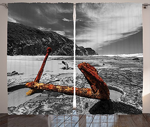 Weathered Copper Angle - Ocean Decor Curtains Weathered Photo of Aged Decayed Flaking Metal Anchor on the Beach by the Hills Living Room Bedroom Window Drapes 2 Panel Set Orange