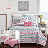 Chic Home 4 Piece Millie REVERSIBLE Ikat bohemian designer printed quilt and shams set, includes LOVE and pom pom pillow Twin Quilt Set Aqua