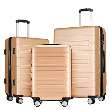bac24fe59b64 Fochier 3 Piece Luggage Sets Expandable Hard Shell Suitcase 4 Spinner  Wheels with TSA Lock Champagne