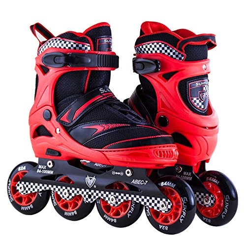 Skate In Line Red Hockey - Inline Power Sport Skates Series Red Adjustable Very Durable Safe Outdoor Comfortable Roller Blade Inline Wheels Boutique Serie 6014 Sizes4-6US
