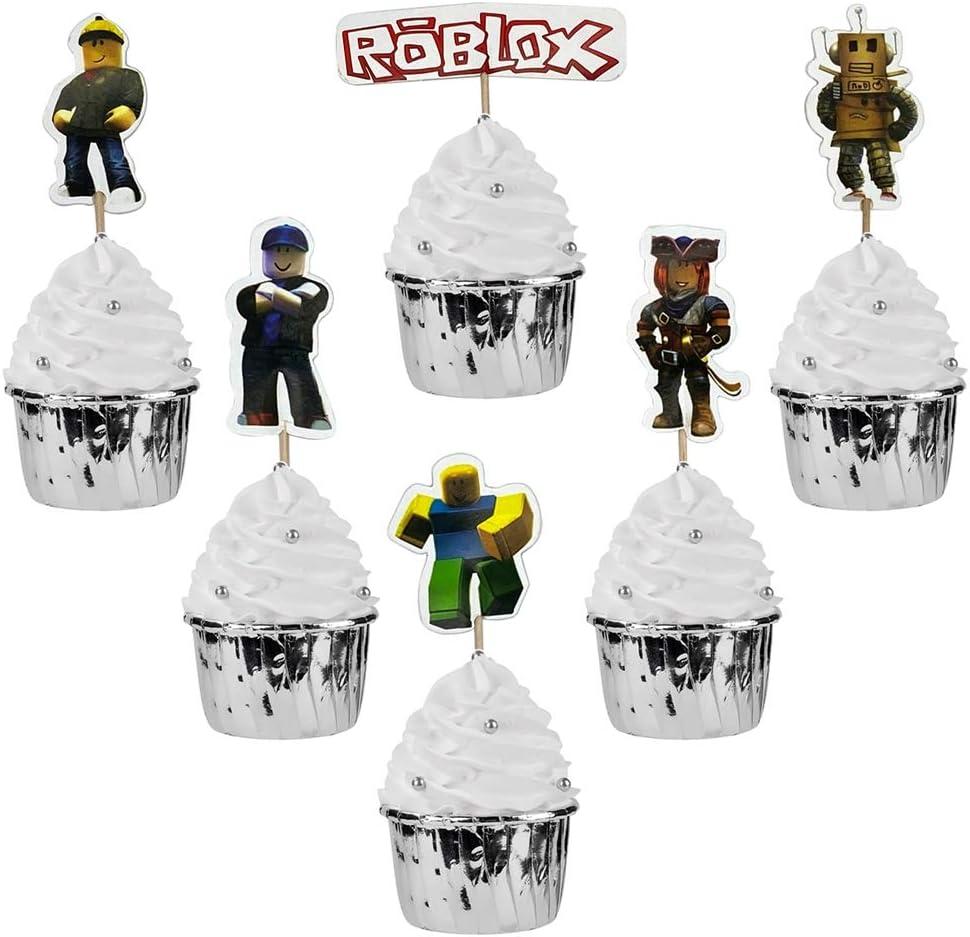 NB24pc Robot Blocks cupcake tooper birthday party candle Robot Blocks birthday cupcake toppers party cake decoration