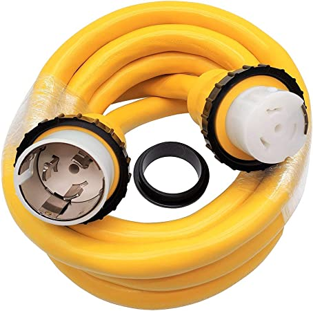 S7 Marine Cable Shore Power Extension Cord SS2-50P 50 AMP Male to Female SS2-50R 50AMP with Twist Lock Ring 125V//250V