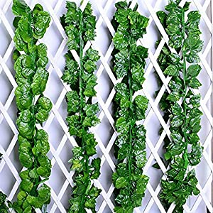 FightingFly Greenery Garland, 12 Strands 84ft Artificial Greenery Vines Fake Ivy Leaves Garland Hanging for Home Kitchen Garden Office Wedding Wall Decor, Grape Leaves 7