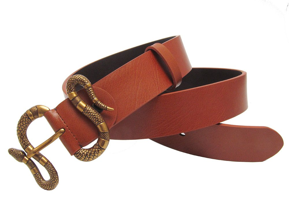 Westward Men Lleather Belt Fashion Retro Snake Buckle Men Dermis Strap (Black, 31-33) 31-33)