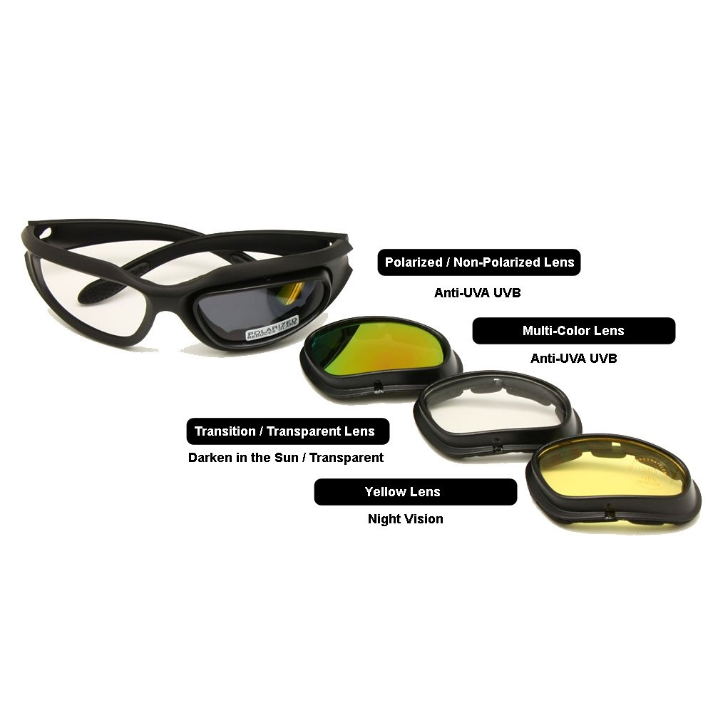 aad0678d7f5c Amazon.com   EnzoDate Daisy One C5 Motorcycle Goggles Polarized 4 Lens Kit