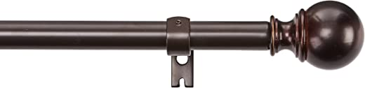 AmazonBasics Curtain Rod with Round Finials, 182 to 365 cm, Bronze