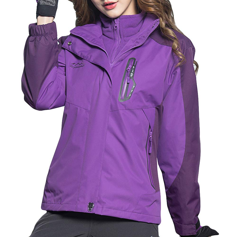 Purple XUANOU Woman's Winter Coat Two Piece Three in One Outdoor Breathable Warm Coat