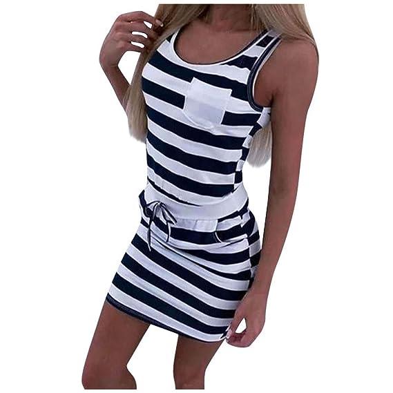Fashion Women Stripes Printed Square Neck Sleeveless Bodycon Club Party Dress
