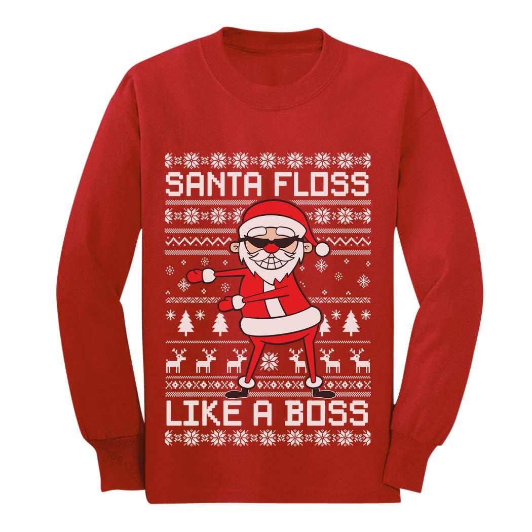 Santa Floss Like a Boss Ugly Christmas Sweater Youth Kids Long Sleeve T-Shirt GaMPa0hgCm