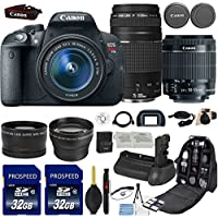 Canon EOS Rebel T5i DSLR Camera with 18-55mm IS STM Lens + Canon EF 75-300mm III Lens + 0.43x Wide Angle Lens + 2.2x Telephoto Lens + 2Pcs 32GB Commander Card + Battery Grip + Extra Battery + Backpack