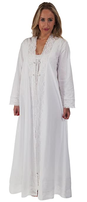 Victorian Nightgowns, Nightdress, Pajamas, Robes Cotton Ladies Robe/Housecoat - Rosalind $59.99 AT vintagedancer.com
