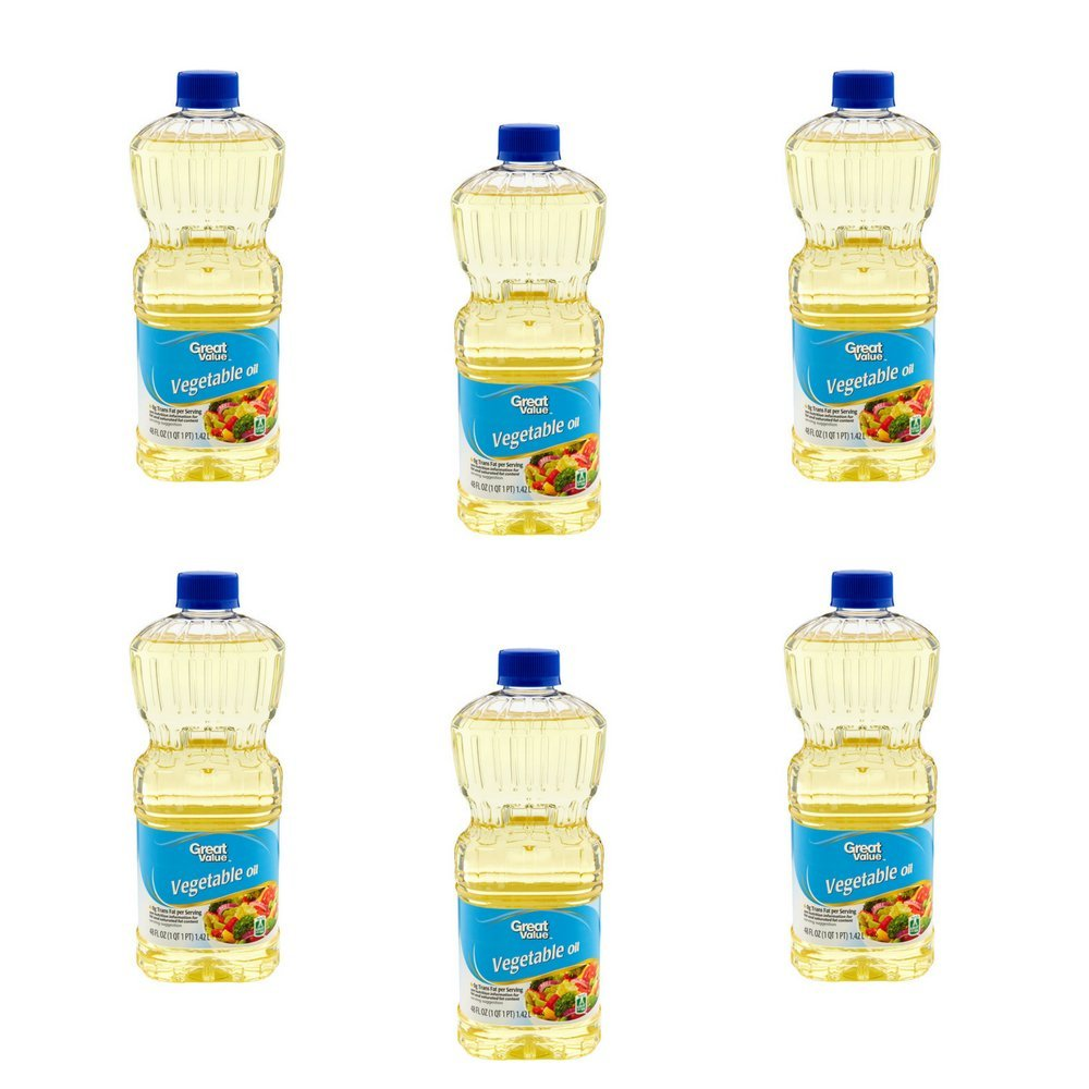 Great Value Vegetable Oil, 48 Oz, Pack of 6