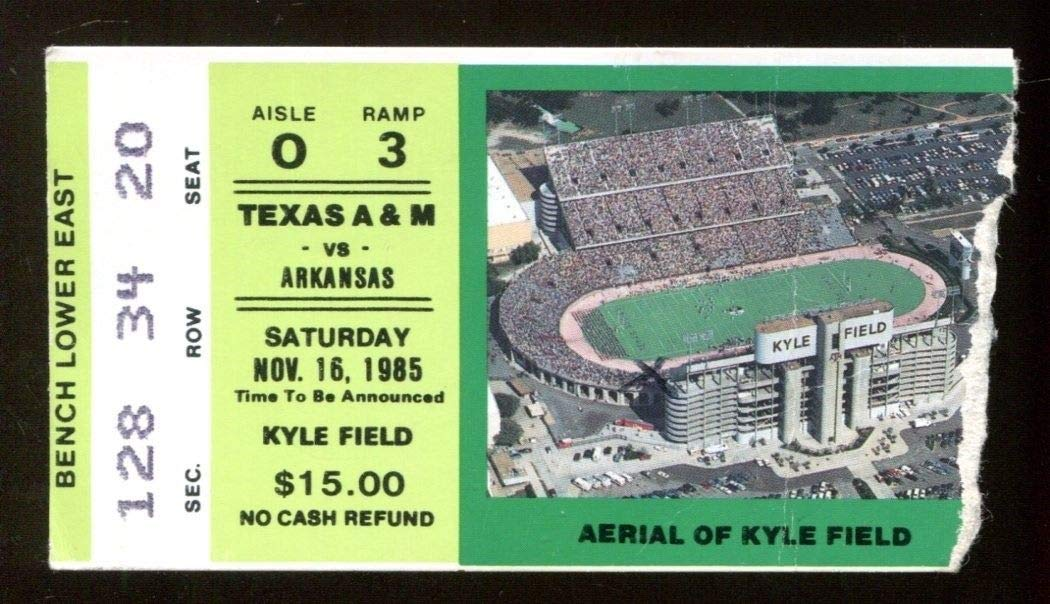 1985 Texas A&M v Arkansas Razorbacks Football Ticket 11/16 Kyle Field 46140