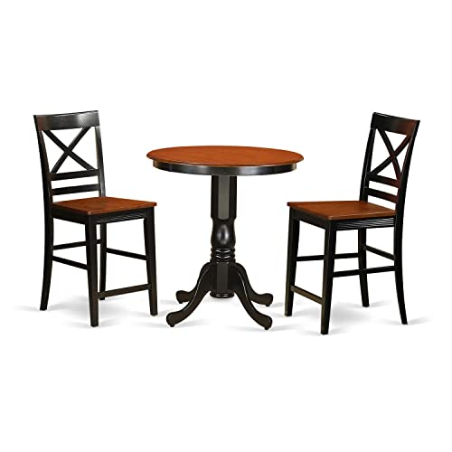 EDQU3-BLK-W 3 PC counter height Table and chair set – Dining Table and 2 counter height stool.