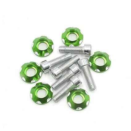 sourcingmap® 6 pcs 6m Tema Matrícula Verde Diámetro Accesorio de Motocicleta placa decorativa pernos hexagonales