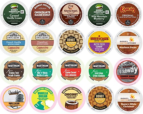20-count K-cup for Keurig Brewers ALL FLAVORED Coffee Variety Pack Feat.Green Mountain, Grove Square Cappuccino, Authentic Donut Shop, Barnie's Coffee, Martinson, Brooklyn Bean, & Java - Factory Square