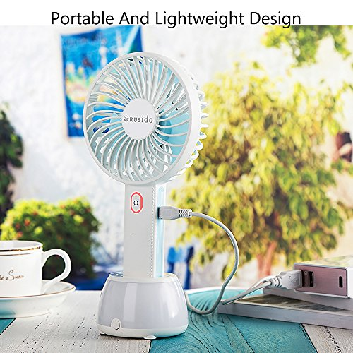 Rusido Portable Mini Handheld Fan with Base Containing Built-in 2000mAh Mobile Power and Base Colorful lights Rechargeable Fan with USB (3 Speeds Blue) Suitable for Home Office Travel Outdoor by Rusido (Image #5)