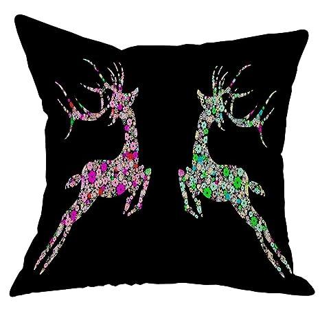 squarex New ciervos de Navidad lino y algodón funda de ...
