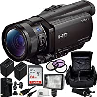 Sony HDR-CX900 Full HD Handycam Camcorder (Black) 64GB Bundle 13PC Accessory Kit. Includes SanDisk 64GB Ultra SDXC Memory Card (SDSDUNC-064G-GN6IN) + 2 Replacement FV-100 Batteries + MORE