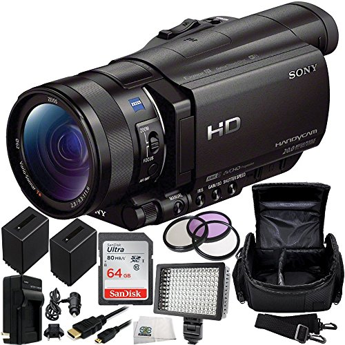 Sony HDR-CX900 Full HD Handycam Camcorder (Black) 64GB Bundle 13PC Accessory Kit. Includes SanDisk 64GB Ultra SDXC Memory Card (SDSDUNC-064G-GN6IN) + 2 Replacement FV-100 Batteries + MORE by SSE