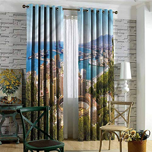nooweihome Thermal Insulated Blackout Patio Door Curtain Panel Landscape,Aerial View of Malaga Cloth Curtains for bedroo 108 x L108 inches (Los Malaga Patios)