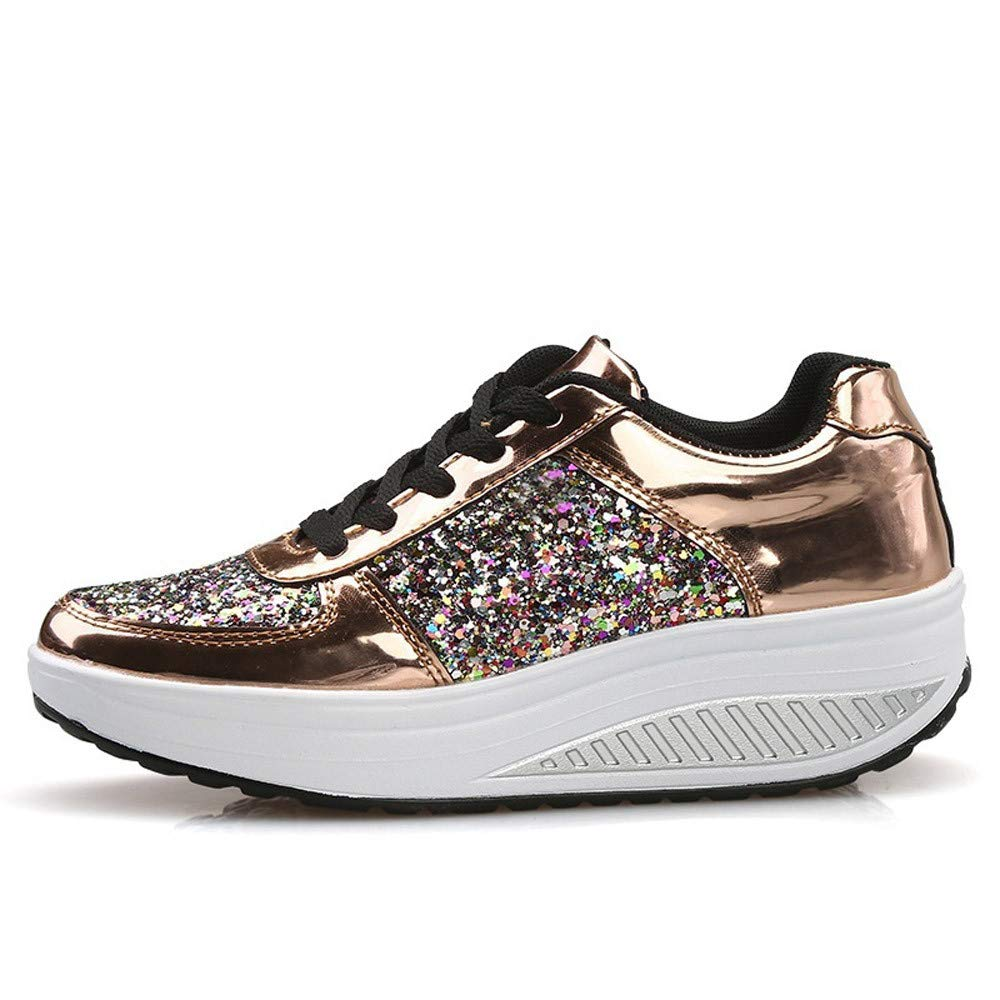 JiaMeng Cuñas Zapatillas de Deporte Lentejuelas Zapatos Shake Moda Chicas Calzado Deportivo de Deporte Mujer Zapatos para Correr Athletic Zapatos para ...