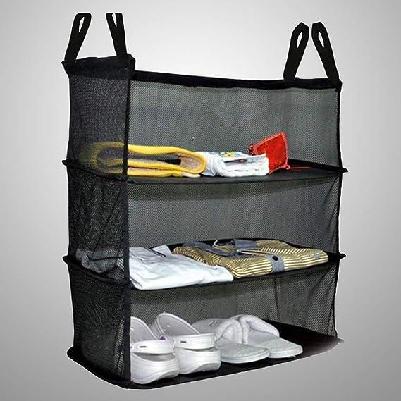 Vosarea Organizador portátil para armarios Colgantes Bolsa de Tres Capas para Colgar la Ropa del Dormitorio Zapatos Bolsa de Almacenamiento (Negro): ...