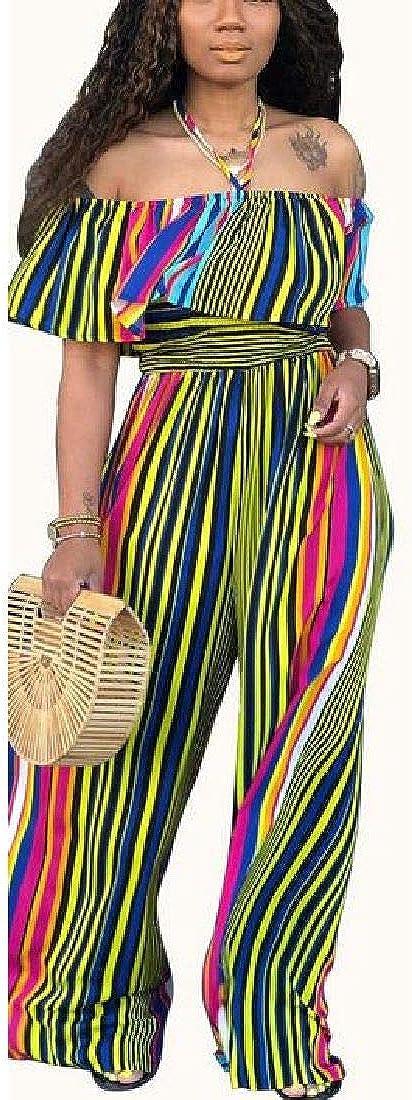 pipigo Women Long Length Cold Shoulder Wide Leg Stripe Jumpsuit Romper