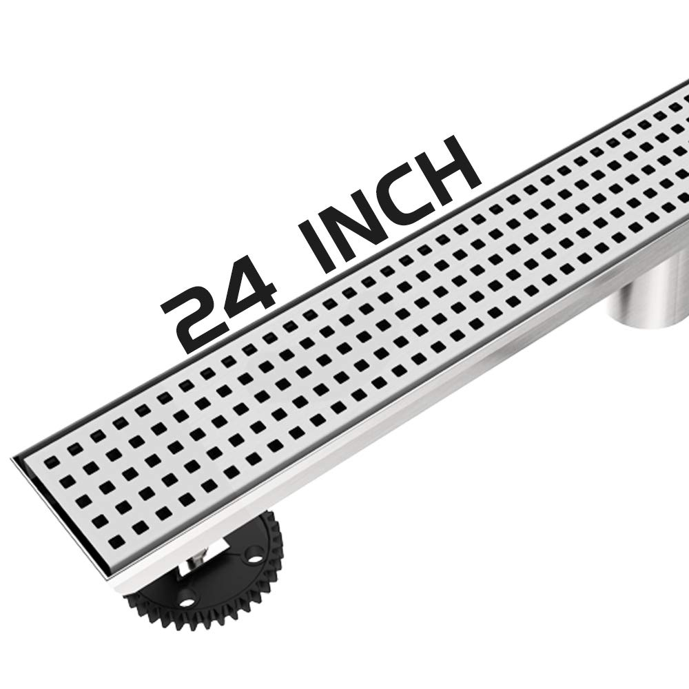 Ushower 24 Inch Linear Drain for Shower, Grate Cover Linear Floor Drain Brushed Nickel, Rectangle Shower Bathroom Drain with Adjustable Leveling Feet, Hair Strainer, Threaded Adapter